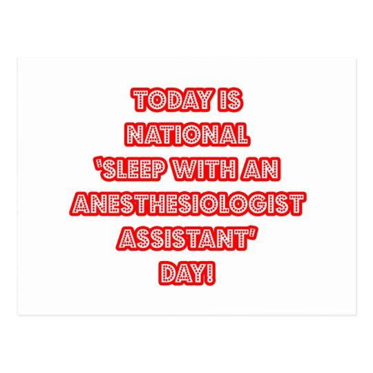 National 'Sleep With an Anesthesiologist Asst' Day Postcard