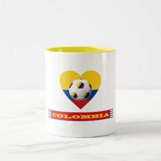 National SOCCER and flag of COLOMBIA 2014 Two-Tone Coffee Mug