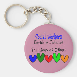 National Social Worker Month. Basic Round Button Keychain