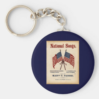 National Songs Vintage Sheet Music Basic Round Button Keychain