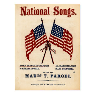 National Songs Vintage Sheet Music Postcard