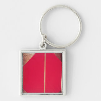 National standard for one metre Silver-Colored square keychain