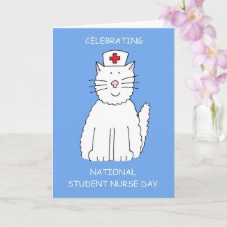 National Student Nurse Day Cute Cartoon Cat Card