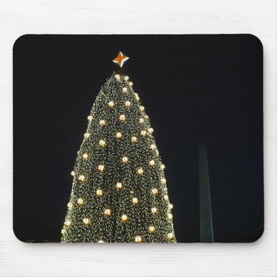 National Tree and Washington Monument at Night DC Mouse Pad