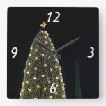 National Tree and Washington Monument at Night DC Square Wall Clock