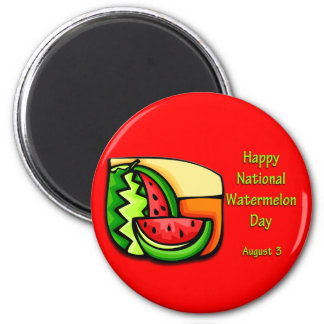 National Watermelon Day August 3 2 Inch Round Magnet