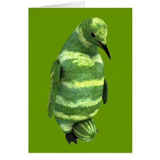 National Watermelon Day Penguin Greeting Cards