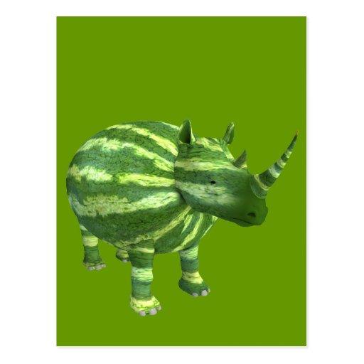 National Watermelon Day Rhinoceros Postcard