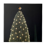 National Xmas Tree & Washington Monument at Night Ceramic Tile