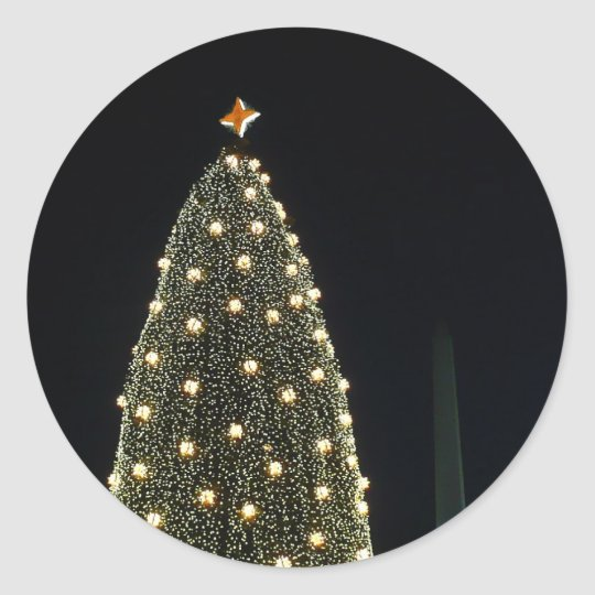 National Xmas Tree & Washington Monument at Night Classic Round Sticker