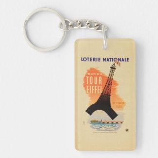 Nationale del loterie de Eiffel del viaje Llavero Rectangular Acrílico A Doble Cara