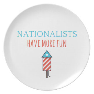 nationalists have more fun melamine plate - rocket