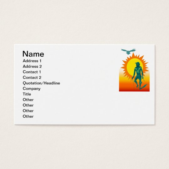 Native Aboriginal in front of a gold sun Business Card
