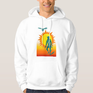 Native Aboriginal in front of a gold sun Hoody