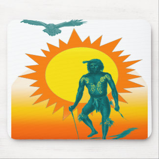 Native Aboriginal in front of a gold sun Mouse Pads
