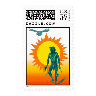 Native Aboriginal in front of a gold sun Postage