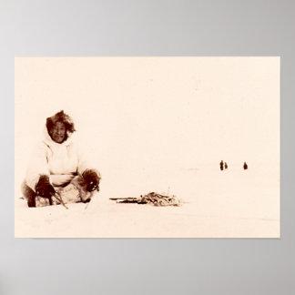 Native Alaskan Ice Fishing Poster
