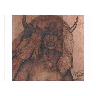 NATIVE AMER WB.PNG Native american wood burning Postcard