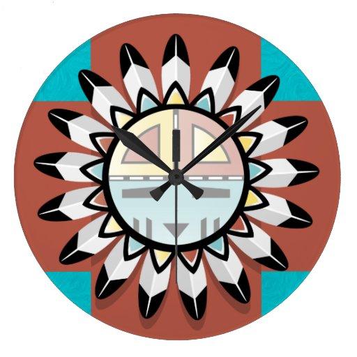 Native American Abstract Art Hopi Mask Round Wall Clocks