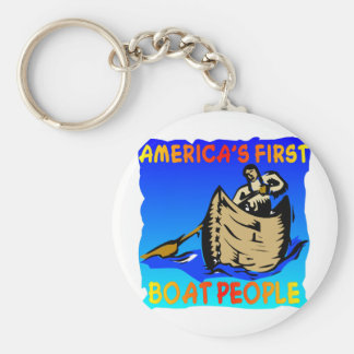 Native American, Americas First Boat People Keychain