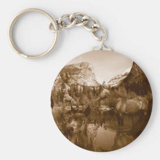 native american basic round button keychain