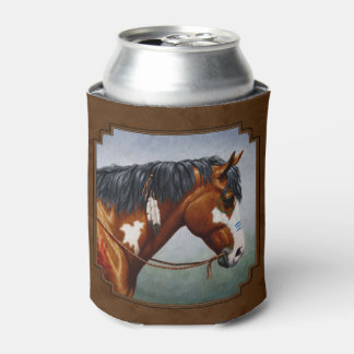 Native American Bay Pinto Horse Brown Can Cooler
