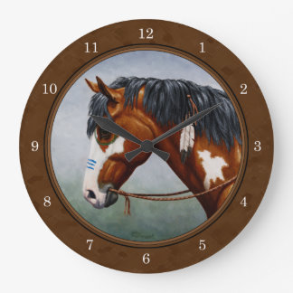 Native American Bay Pinto Horse Brown Large Clock