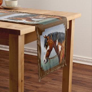 Native American Bay Pinto Horse Brown Medium Table Runner