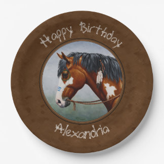 Native American Bay Pinto Horse Brown Paper Plate