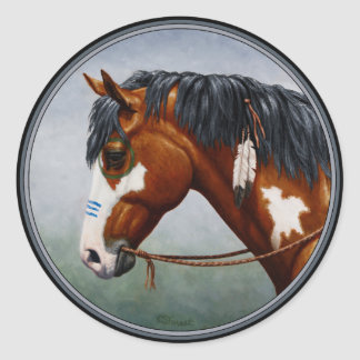 Native American Bay Pinto War Horse Classic Round Sticker