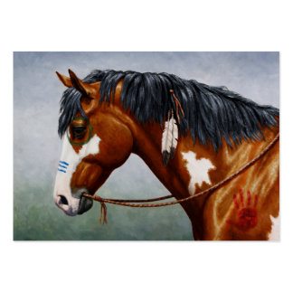Native American Bay Pinto War Horse Large Business Card