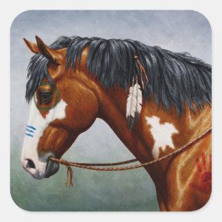Native American Bay Pinto War Horse Square Sticker