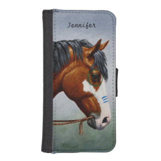 Native American Bay Pinto War Horse Wallet Phone Case For iPhone SE/5/5s