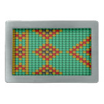 Native American Bead Pattern Rectangular Belt Buckle