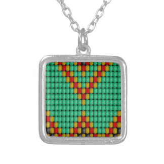 Native American Bead Pattern Square Pendant Necklace