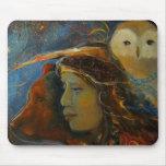 Native American Bear and Owl Animal Spirits Mouse Pad