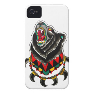 Native American Bear with Bear Claw Necklace iPhone 4 Case-Mate Case