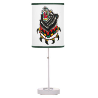 Native American Bear with Bear Claw Necklace Table Lamp