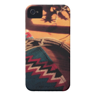 Native American blanket lasso and spurs iPhone 4 Case