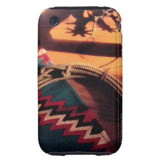 Native American blanket lasso and spurs Tough iPhone 3 Covers