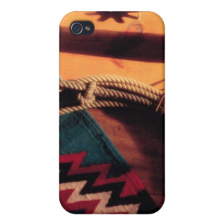 Native American blanket lasso and spurs iPhone 4/4S Cases