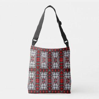Native American Blanket Pattern Red Gray Black Crossbody Bag