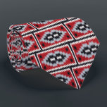 """Native American Blanket Tie<br><div class=""""desc"""">Beautiful Native American Two Gray Hill Blanket design in red,  black,  gray,  and white.</div>"""