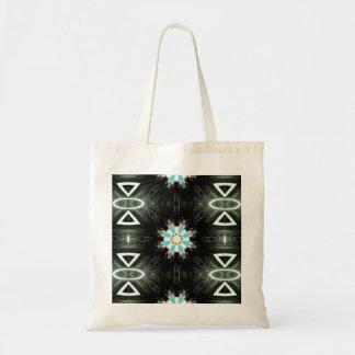 native american blue star-burst budget tote bag