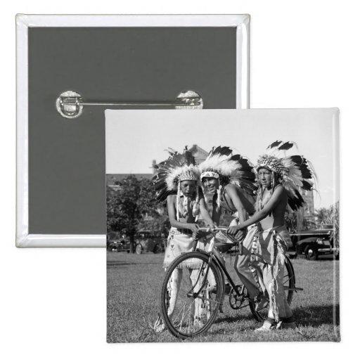 Native American Boys, 1930s 2 Inch Square Button