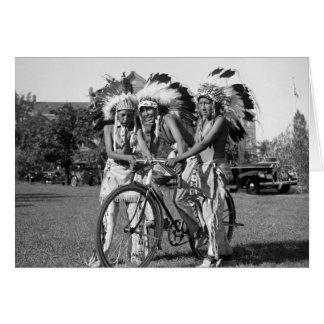 Native American Boys, 1930s Card