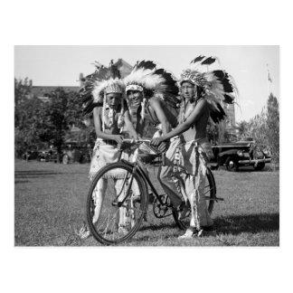 Native American Boys, 1930s Postcard