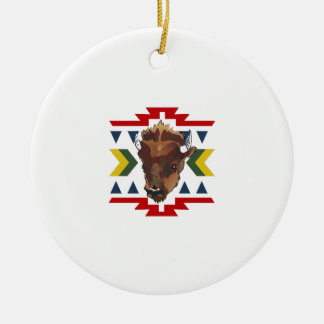 NATIVE AMERICAN BUFFALO Double-Sided CERAMIC ROUND CHRISTMAS ORNAMENT