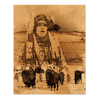 Native American Buffalo Print