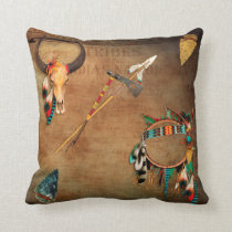 Native American Buffalo Skull arrowhead Indian Throw Pillow